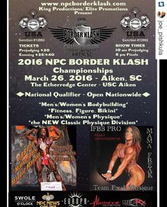 #Repost @joe_pishkula with @repostapp. BREAKING NEWS!!!! PLEASE SHARE Press Release: 11/13/2015 NPC South Carolina NPC Bodybuilding USA 2016 NPC Border Klash Championships March 26 2016 Aiken SC Press Release #5 We would like to announce the addition of two very special Guest Posers for the 2015 NPC Border Klash. Our first champion needs no introduction. She is the current reigning Womens Bodybuilding World Champion- the BEST in the world. IFBB Pro Margie Martin the 2015 IFBB Wings of…