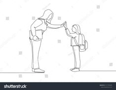 One line drawing of female teacher meet one of her student at school and giving high five gesture School educa Continuous line drawing Line drawing Art images