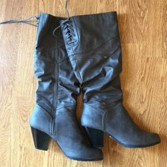 Adorable gray boots Adorable gray boots! Size 9.5 Brand new! Never worn! When I purchased them in the store the box was mislabeled as a size 10 so they are too small for me. Offers welcome! (Please no low balling.) Shoes Heeled Boots