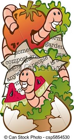 worm composting | Clipart of Worm Composting - Vector Illustration of a worm composting ...