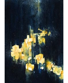 The Empty Mind Full of Lighters, The Fireflies Lantern and No Sound but the Wind, watercolours by kawako