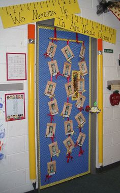 I love the pencils next to the door! Looks like pvc pipe, pool noodle, tin foil, and some construction paper and such for the tip of the pencil. Sounds easy to me!