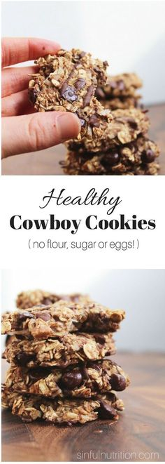 >>>Cheap Sale OFF! >>>Visit>> Healthy Cowboy Cookies Recipe (Vegan Gluten-Free) -- Made with only 9 ingredients with no added oils sugars flours or eggs! Healthy Cookie Recipes, Healthy Cookies, Healthy Sweets, Healthy Baking, Gourmet Recipes, Cookies Vegan, Heart Healthy Desserts, Healthy Nutrition, Healthy Sweet Treats