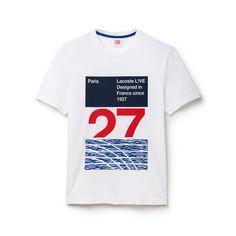 T-shirt Lacoste LIVE com decote redondo em jersey técnico 3 blocos tricolores
