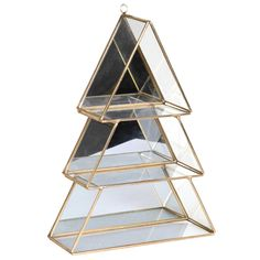Mirrored Christmas Tree Shelf, Brass - Barker & Stonehouse