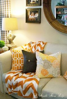 Tangerine For Summer Color In The Family Room