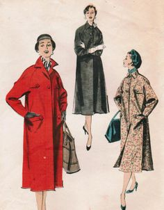 Vintage 1956 Advance 8120 Sewing Pattern Misses' Coat Size Small