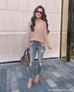 Extra Petite. Nude sweater+grey ripped jeans+nude pep toed ankle boots+leopard print handbag+sunglasses. Fall Outfit 2016