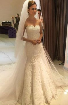 Cheap robe de mariee, Buy Quality wedding gown bridal directly from China gowns bridal Suppliers: 2017 Elegant Sweetheart Neck Mermaid Wedding Dresses Lace Bridal Wedding Gowns Bridal Dresses Hochzeitskleid robe de mariee Wedding Dress Train, Applique Wedding Dress, Long Wedding Dresses, Perfect Wedding Dress, Princess Wedding Dresses, Bridal Dresses, Wedding Gowns, Lace Wedding, Dream Wedding