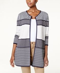 Charter Club Petite Cotton Geo-Print Open-Front Cardigan, Created for Macy's - Blue P/XS