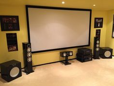 Monitor Audio Gold Home Cinema Home Theater Rooms, Home Theater Design, Cinema Room, Floor Standing Speakers, Entertainment Center Wall Unit, Modern Bookshelf, Black Coffee Tables, Floating Shelves Diy, House Design