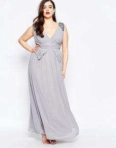 1518fcc2b8b6 Image 4 of Little Mistress Plus Embellished Plunge Front Peplum Waist Maxi  Dress Plus Size Evening