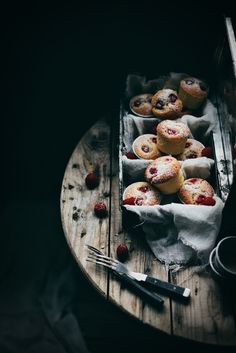 A nice way to style friands or muffins is to always show them in abundance. The look is generous and inviting. Wrapped in cloth makes them look warm and freshly baked.