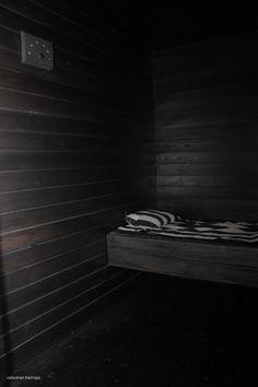 Sauna in Black Interior Design Inspiration, Powder Room, Stairs, Cottage, Bathroom, Black, Home Decor, Washroom, Stairway