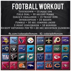 Football Workout - maybe this is how I can make it through a whole football game with the hubs...