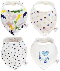 Amazon.com : Smiling Baby Extra Absorbent 4 - Pack Cotton Baby Bandana Drool Bibs, Unique Cute and Modern Trendy Design,… http://itz-my.com