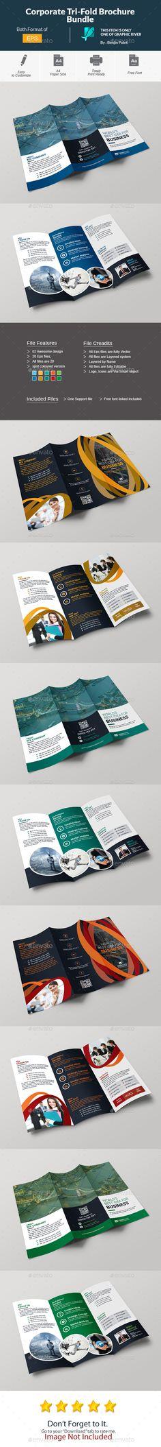 Corporate Tri-Fold Brochure Template Bundle - Vector EPS, AI Illustrator