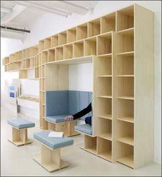 Studio GGSV | Architecture intérieure du Laboratoire I2R (EDF) | Moret-sur-Loing. Lab i2R School Library Design, Home Library Design, Parametrisches Design, House Design, Design Ideas, Comedor Office, Fab Lab, Library Inspiration, Creative Storage
