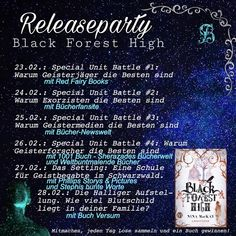 #NinaMacKay #Buch #ReleasePary #Piper #BlackForestHigh #Exorzisten Motto, Black Forest, Party, Periodic Table, Random Object Generator, The Bible, Be You Bravely, Periodic Table Chart, Periotic Table