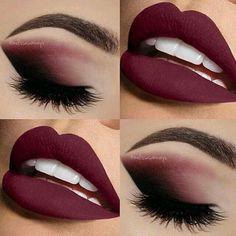 Charming burgundy eyes and lips color makeup  #weddinglipcolors