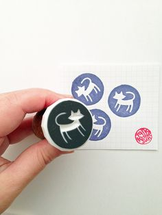 cat hand carved rubber stamp. animal silhouette by talktothesun