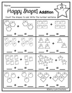This packet is chock full of practice in manipulating numbers. Students will love the fun graphics while practicing basic mathematical operations. The packet includes addition and subtraction within 5 and 10, decomposing numbers, making 10, as well as addition and subtraction word problems. The worksheets come in 2 forms: full page or 2 per page for printing flexibility. Subtraction Kindergarten, Kindergarten Addition Worksheets, Addition And Subtraction Worksheets, 1st Grade Math Worksheets, Numbers Kindergarten, Decomposing Numbers, Chock Full, Making 10, School Projects