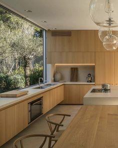 Kitchen Room Design, Kitchen Dinning, Wooden Kitchen, Modern Kitchen Design, Interior Design Kitchen, New Kitchen, Kitchen Decor, Minimalist Kitchen, Cuisines Design