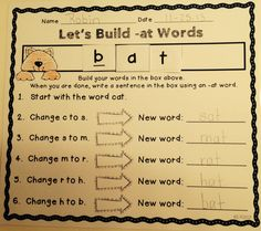Let's Build Words {Kindergarten Word Families Edition} Teaching Phonics, Teaching Reading, Teaching Activities, Reading Resources, Guided Reading, Teaching Tools, Learning, Kindergarten Language Arts, Kindergarten Writing