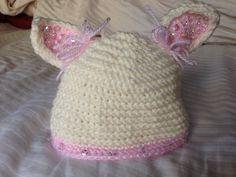 Crocheted Beaded Baby Bunny Hat  on Etsy, $32.00