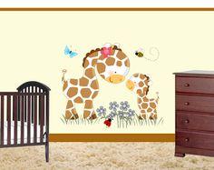 Giraffe Wall Mural for baby nursery or kids room decor http://cgi.ebay.com/ws/eBayISAPI.dll?ViewItem&item=370901544006&ssPageName=STRK:MESE:IT #decampstudios