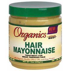 Hair Mayonnaise Treatment - Africa's Best Organics. Traitement Capillaire à la Mayonnaise Expérimentez un niveau élevé de revitalisation et d'hydratation. Traitement pour cheveux faibles, abîmés. Enrichi aux extraits botaniques naturels, vitamines, protéines d'oeuf et huile d'olive pour revitaliser, hydrater et renforcer les cheveux abîmés ou sur-traités. Une utilisation régulière de la mayonnaise aide à raviver et renouveler les cheveux faibles et fragiles, en laissant au cheveux un aspect…