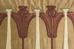 """""""CRAFTSMAN"""" (Detail)  Silk on silk appliqued pillow inspired by the Arts & Crafts Movement  Hand cut, machine stitched without the aid of computers  18"""" x 22"""""""