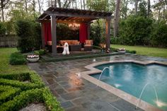 Pergolas or a pool area is such a statement. Love the renaissance vibe.