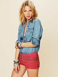 Free People Clothing Boutique > Monroe Textured Shorts. So cute!