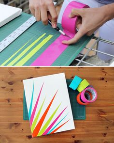 Ready to create super colorful, original art in 90 seconds flat? Grab a canvas,duct tape, an Xacto knife, and go! Here's how.