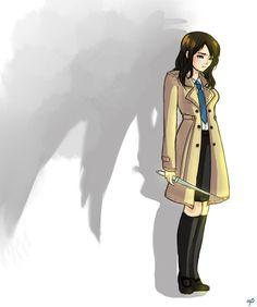 SPN: Castielle by Jaskierka.deviantart.com on @DeviantArt ~ Aww, this is so sad but Fem!Cas is adorable!