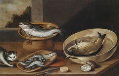 Pieter van Boucle   Stilleven van vis met kat