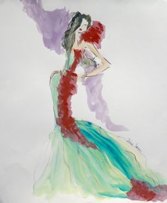 Fashion sketch, green dress, couture, SERECIN