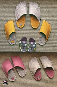 Looking for unique colorful slippers? Our slippers light, soft, and comfortable. Yellow Slippers, Wedding Slippers, Felt Shoes, Wedding Gifts For Bride, Shoe Pattern, How To Make Shoes, Womens Slippers, Wool Felt, Sewing Projects