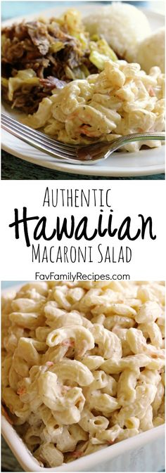 "THE BEST! Authentic Hawaiian Macaroni Salad aka ""Mac Salad"" - When living in Hawaii I ate this all the time, serioulsy, this is the real deal. A no-frills, creamy mac salad that is the perfect side dish for any BBQ or Luau. Side Dish Recipes, Pasta Recipes, Salad Recipes, Cooking Recipes, Mac Salad Recipe, Recipes Dinner, Kraft Recipes, Sweet Macaroni Salad Recipe, Diced Pork Recipes"