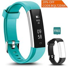 LYOU Fitness Tracker, Fitness Watch: Activity Tracker Smart Bluetooth Wristband with Sleep Monitor and Blue Replacement Strap for Android or iOS (Black+Blue) Fitness Tracker Reviews, Best Fitness Tracker, Fitness Activity Tracker, Fitness Watch, Training Equipment, Fitness Equipment, Butt Workout, Sport Watches, Smart Watch