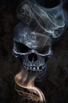 Skull with smoke