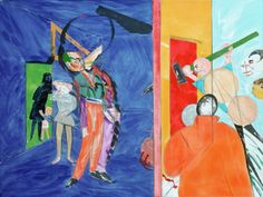 The Jewish Museum - Collection - Eclipse of God (After the Uccello Panel Called Breaking Down the Jew's Door), 1997-2000  //      R. B. Kitaj, American, 1932-2007  Eclipse of God (After the Uccello Panel Called Breaking Down the Jew's Door), 1997-2000      Oil and charcoal on canvas     35 15/16 × 47 15/16 in. (91.3 × 121.8 cm)
