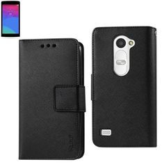 Reiko Wallet Case 3 In 1 For LG Leon/ LG H326T/ Risio Black With Interior Leather-Like Material And Polymer Cover