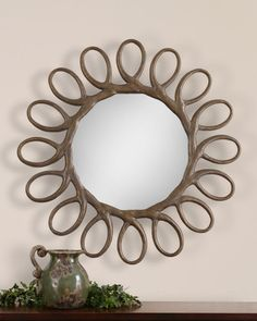 Saltaire Antiqued Gold Round Wall Mirror | eBay