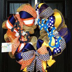 House divided burlap wreath//Chevrons//Auburn//WVU via Etsy