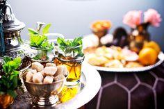 Moroccan tea tradition.  Fresh light peppermint, dark Ceylon tea and sugar cube.