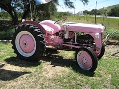 Pink Ford N-series tractor