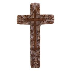 """Rough-hewn carvings and an antique finish make this cross a striking pastoral wall ornament. Looks like carved wood. Polyresin. Dimensions: 15.25"""" H x 8.75"""" W x .75"""" D Shipping weight: 3 lbs."""