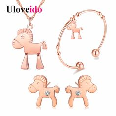 Uloveido Rose Gold Color Horse Necklace Bracelet Earrings Bridal Jewelry Sets Women Wedding Accessories Anime Jewellry Set DML53 #Affiliate